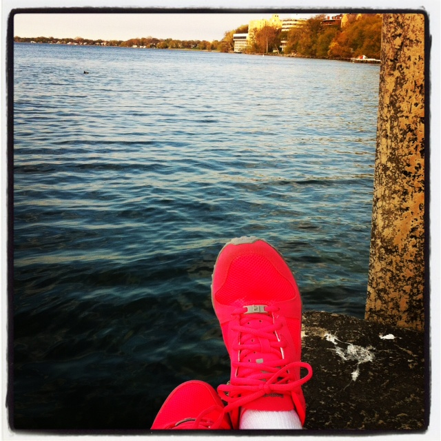 Relaxing After Vigorous Evening Lakeside Walk