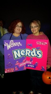 My first Halloween party in years. With my grape Nerd sister, Beth.